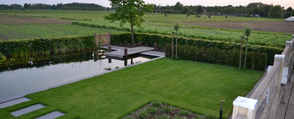 Het palet tuinontwerp gezinstuin met zwemvijver - Hoe om te beseffen een tuin ...